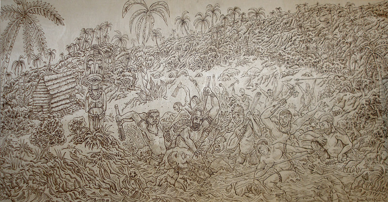 """the Final Moments of Captain Cook"" complete woodburn before tinting by Kenneth M Ruzic"