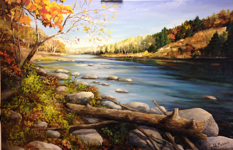 Oil painting Housatonic River by Betty Ann  Medeiros