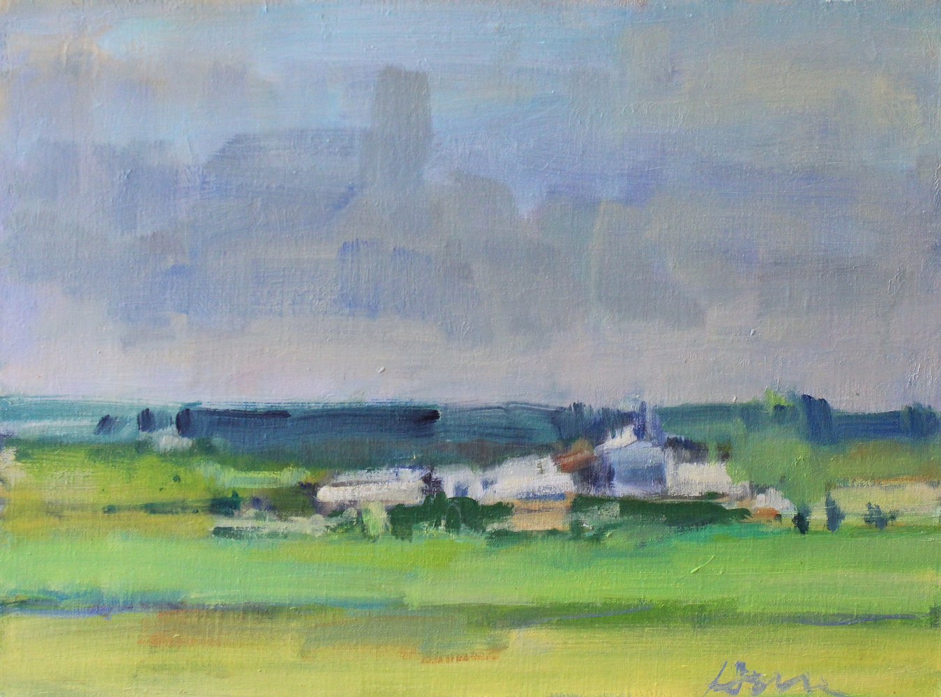"St. Croix Valley Farm, oil on canvas board, 12"" x 16"" by Susan Horn"
