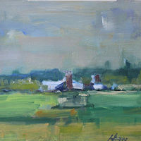 "St. Croix River Farm, oil on paper, 9 1/2"" x 11 1/2"" by Susan Horn"
