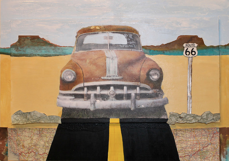 Mixed-media artwork Route 66 by Steve Latimer