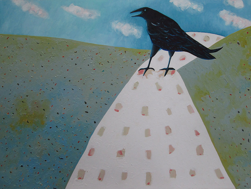 Oil painting Snow Road Crow by Jane  Zednik