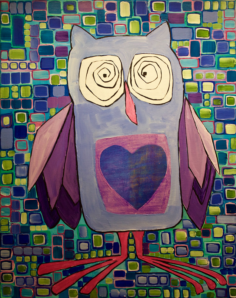 Acrylic painting Owl by Donna Howard