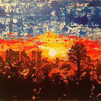 Acrylic painting west coast setting sun by Jeffrey Newman