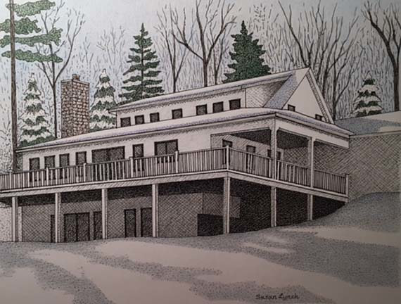 Drawing House Portrait-Vermont by Susan Lynch