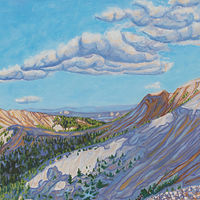 Oil painting Mountains and Skyshadows by Crystal Dipietro