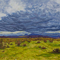 Oil painting Where the Desert Meets the Sky by Crystal Dipietro