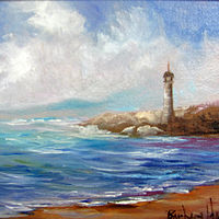 Oil painting  Lighthouse Miniature,oils on canvas by Barbara Haviland