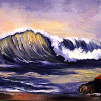 Oil painting Seascape Wave Miniature, oils on canvas by Barbara Haviland