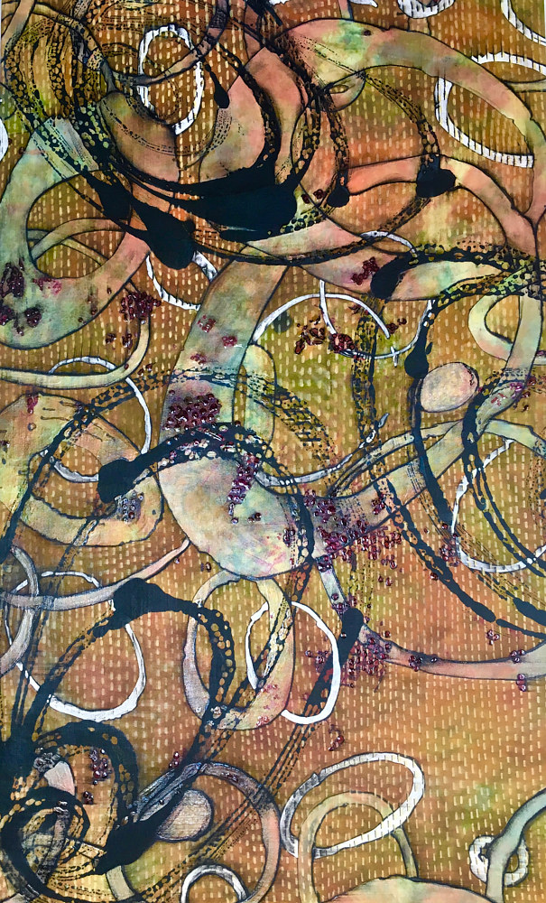 Acrylic painting Motion Series, #2, Kantha  by Jeanie Auseon