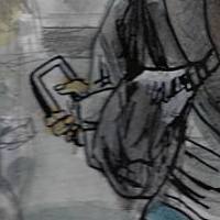 "detail from piece in progress ""Selfies at the World Trade center Memorial"") by Kenneth M Ruzic"