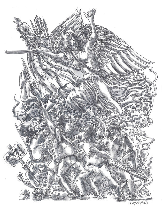 Drawing Arch of TRiUMPh (the Marseilles) Apotheosis of the Antifa Movement by Kenneth M Ruzic