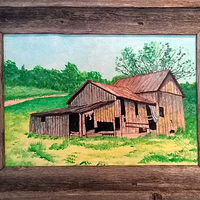 Acrylic painting Old Barn In Authentic-Texas barnwood frame-12x16 by Frans Geerlings