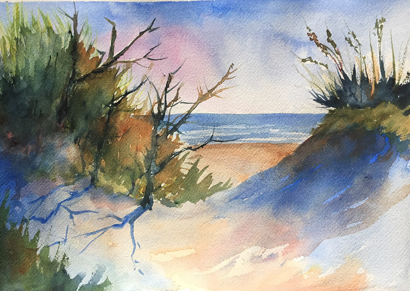 Watercolor Red Reef Park, Boca Raton by Betty Ann  Medeiros