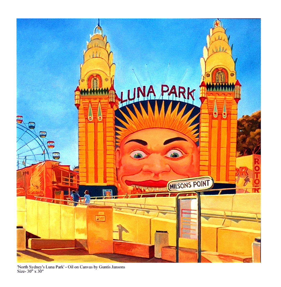 Oil painting Luna Park from Milson's Point by Guntis Jansons