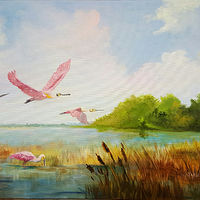 Oil painting Spoonbills in the Marsh by Barbara Haviland