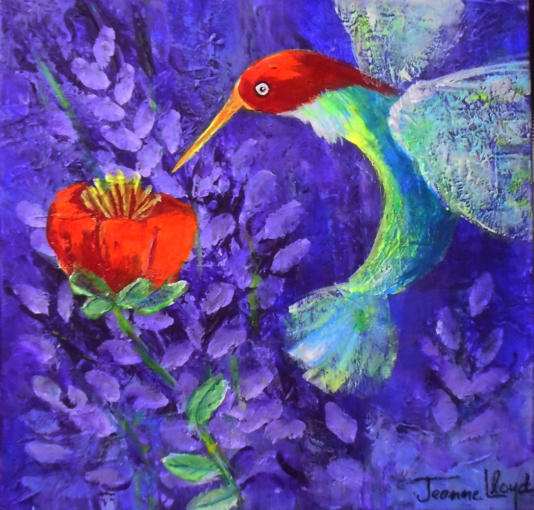 Lavender with HummingBird by Jeanne Lloyd