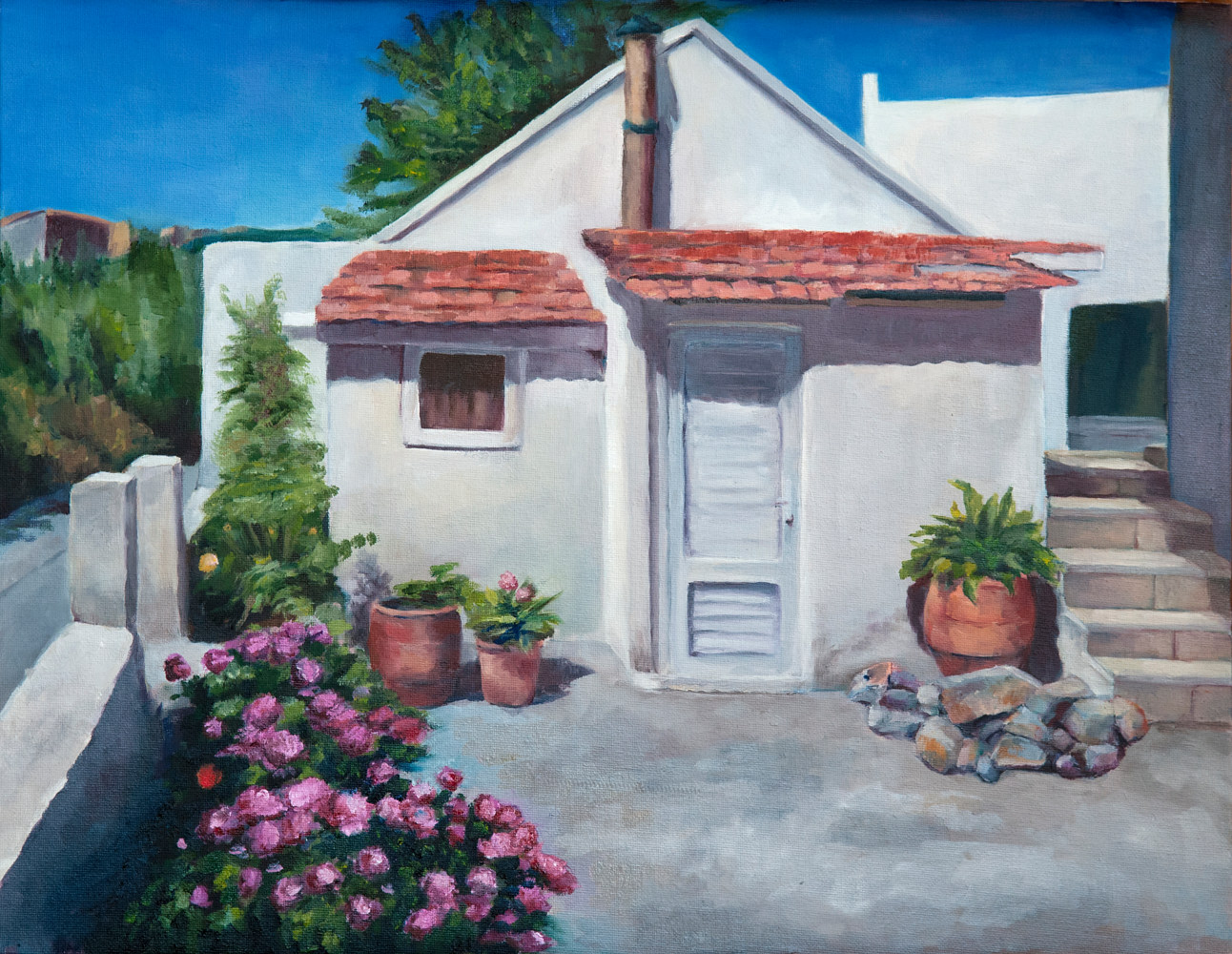 Oil painting Little White House on Skopelos by Kathleen Gross