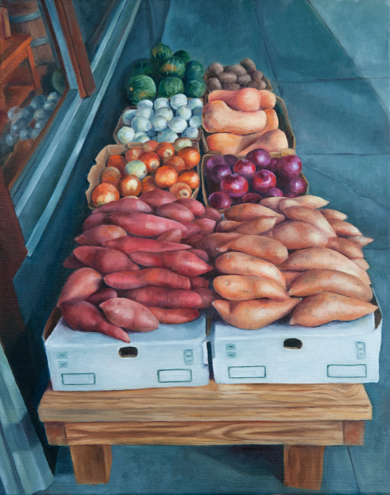 Oil painting Sidewalk Vegetables by Kathleen Gross