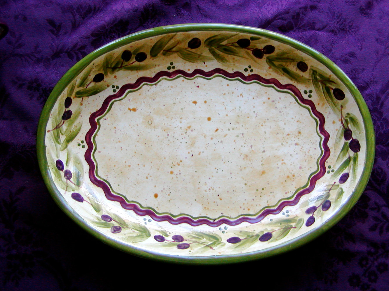 "Painting Italianate Eclectic Glazeworks: 16"" Serving Platter by Linnie (Victoria) Aikens Lindsay"