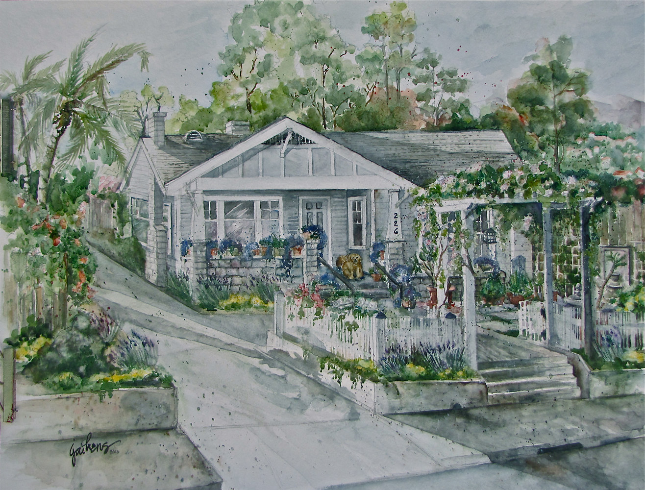 "Watercolor ""Santa Barbara Cottage"" by Linnie (Victoria) Aikens Lindsay"