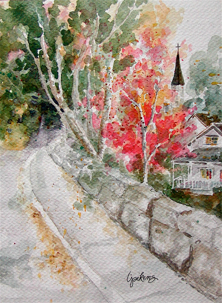 "Watercolor ""Autumn Sunday"" by Linnie (Victoria) Aikens Lindsay"