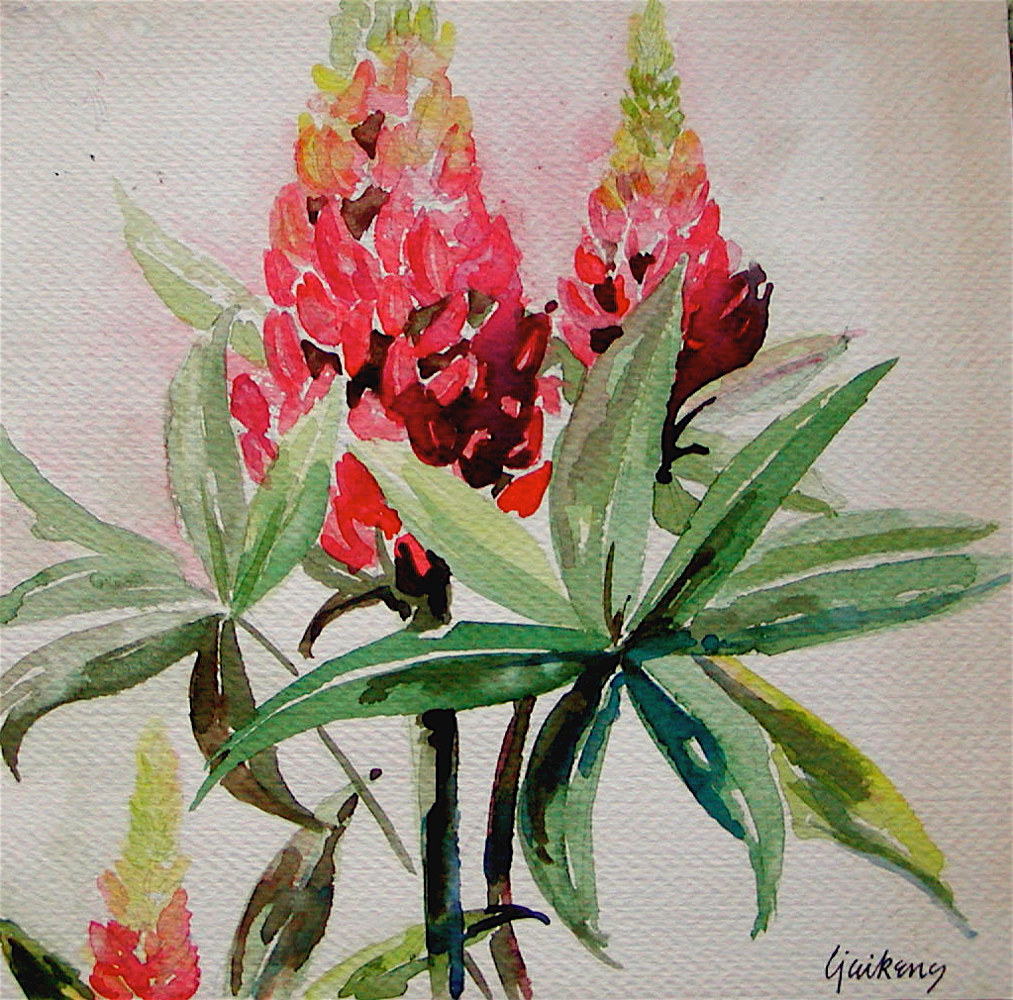 "Watercolor ""Butterfly Bush"" by Linnie (Victoria) Aikens Lindsay"