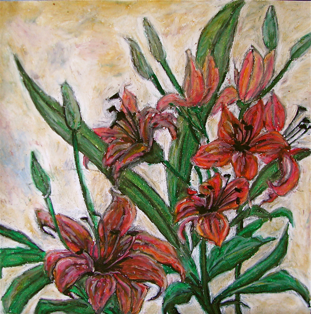 "Oil painting ""Tiger Lillies"" by Linnie (Victoria) Aikens Lindsay"