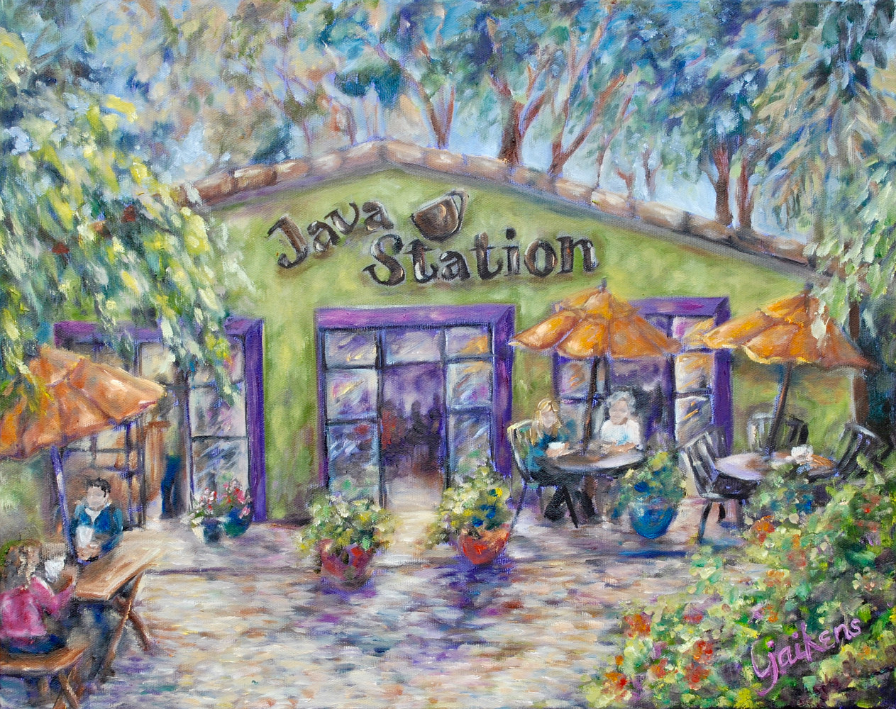 "Oil painting ""Java Station"" by Victoria Avila"