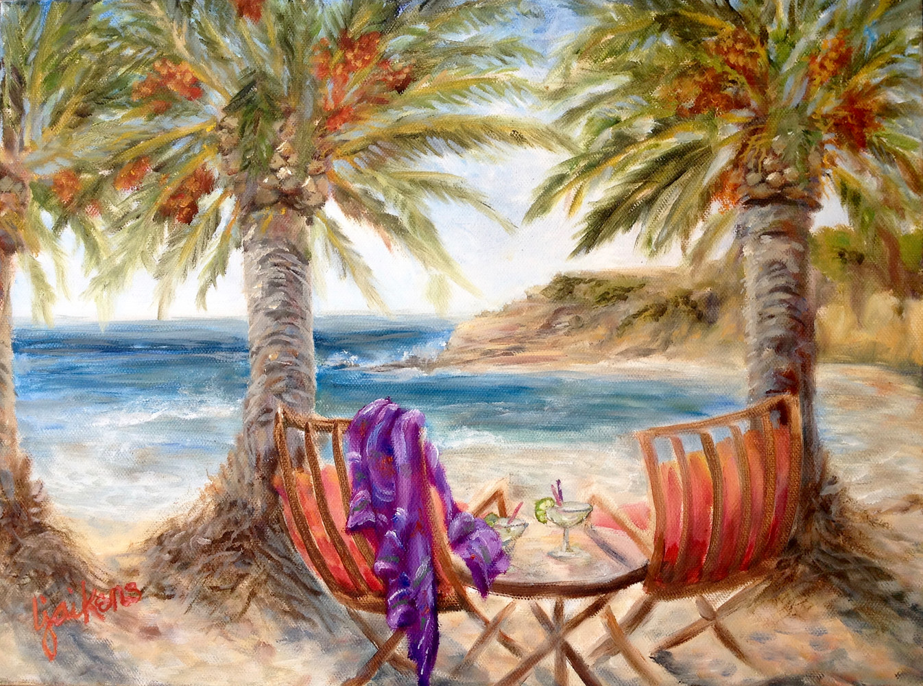 "Oil painting ""Refugio Cocktails"" by Linnie (Victoria) Aikens Lindsay"