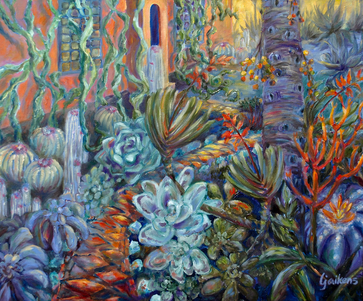 "Oil painting ""Blue Garden Fire"" by Victoria Avila"