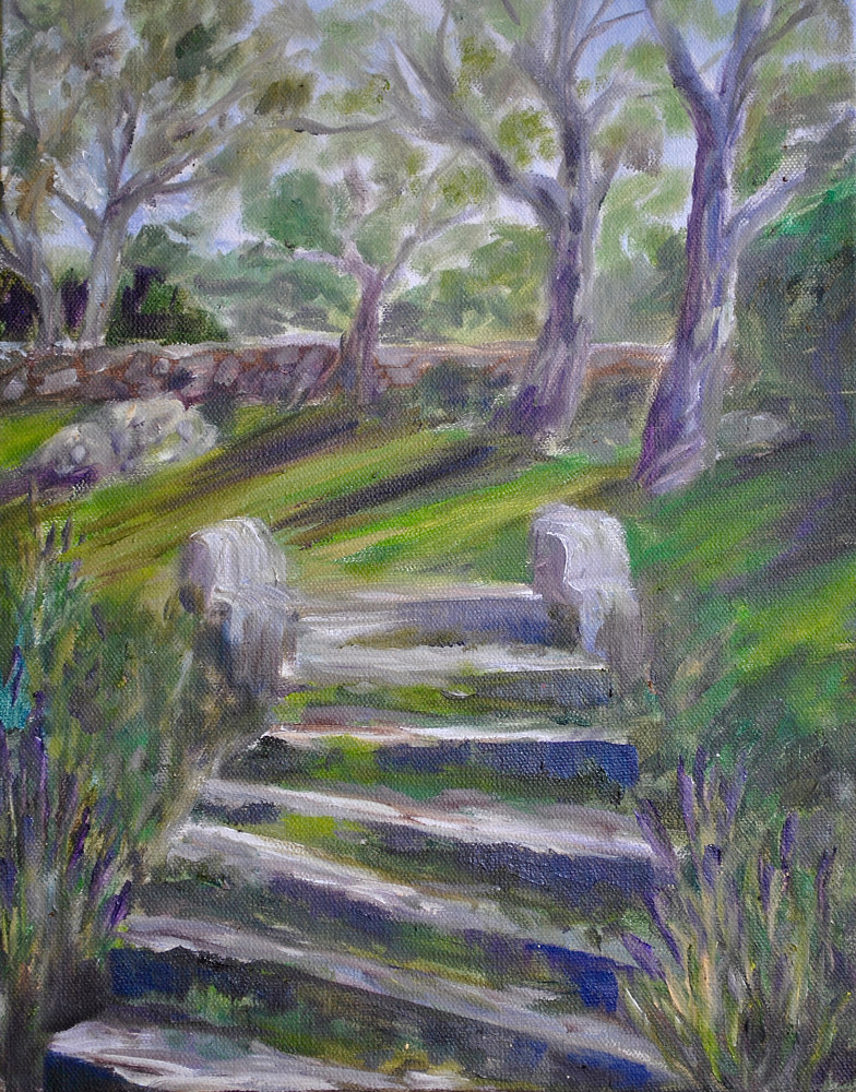 "Oil painting ""On Ancient Steps"" by Victoria Avila"
