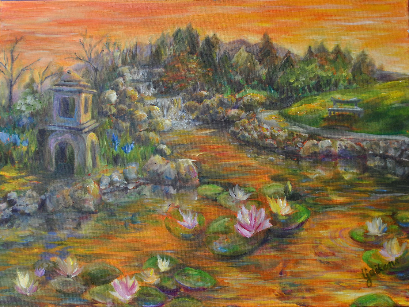 "Oil painting ""Koi Pond Reflections"" by Linnie (Victoria) Aikens Lindsay"