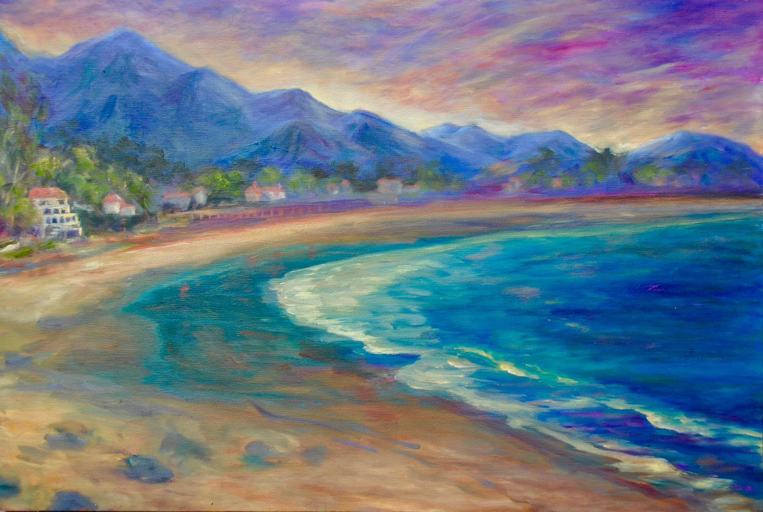 "Oil painting ""Miramar Sunset"" (Ode to Chris Potter) by Linnie (Victoria) Aikens Lindsay"