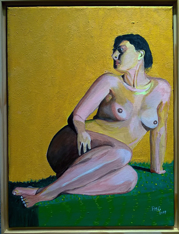 Acrylic painting seated nude-12x16 by Frans Geerlings