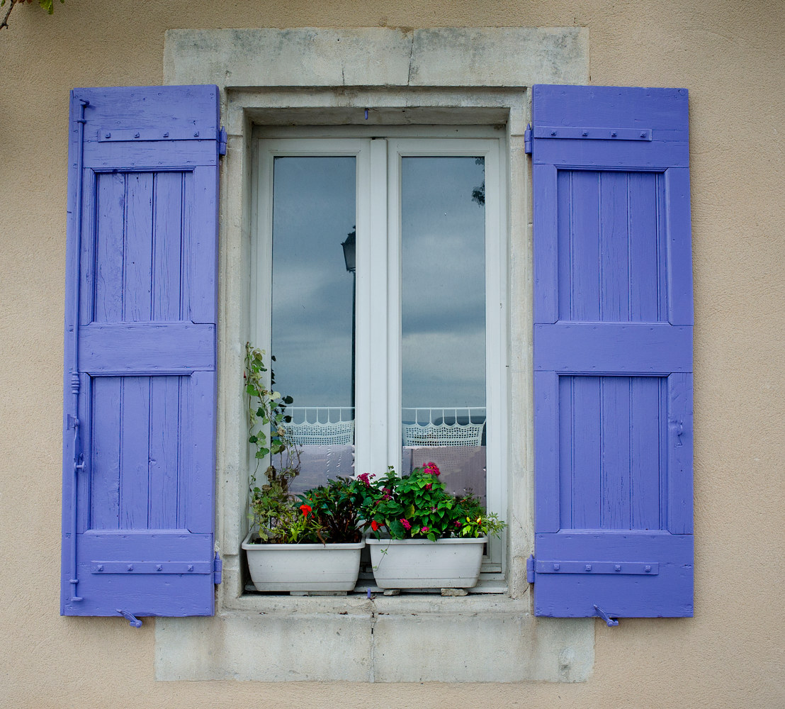 Window with Purple Shutters by Kathleen Gross