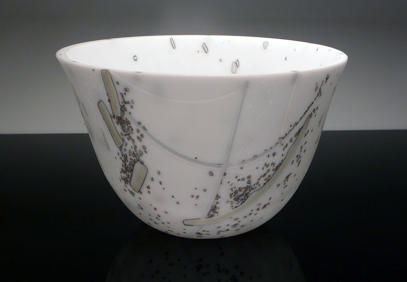 Kiln Formed  Glass Deep Bowl Vessel Winter by Claudia Whitten