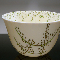 Kiln formed Glass Deep Bowl Vessel Spring by Claudia Whitten