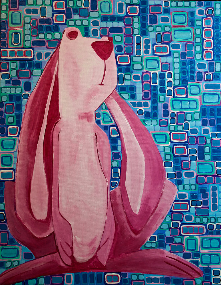Acrylic painting Security Blanket Bunny by Donna Howard