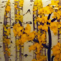Kilnformed glass fall aspens by Claudia Whitten