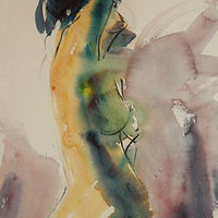 Watercolor green nude by Madeline Shea