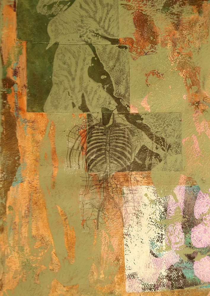 Mixed-media artwork Inside Man by Pamela Pitt