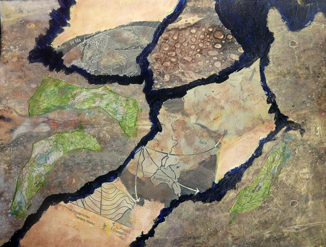 Mixed-media artwork Continents Collide by Pamela Pitt