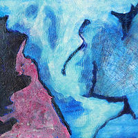 Mixed-media artwork Continental Drift by Pamela Pitt