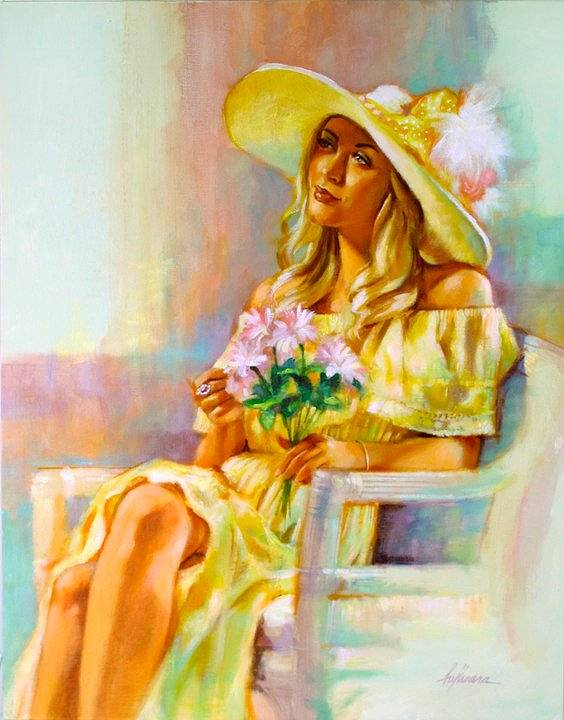 "Oil painting ""Kentucky Derby Morning"" by Kim Fujiwara"