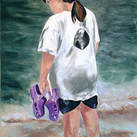 Oil painting The Purple Shoes by Barbara Naeser