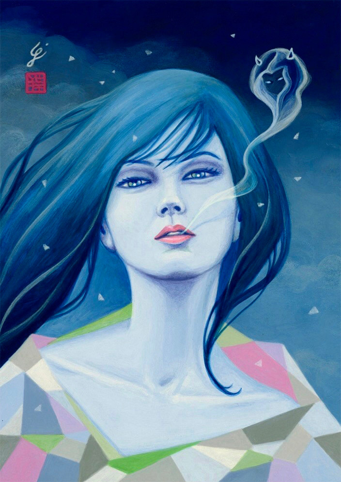 Acrylic painting Yuki-Onna by Carolina Seth