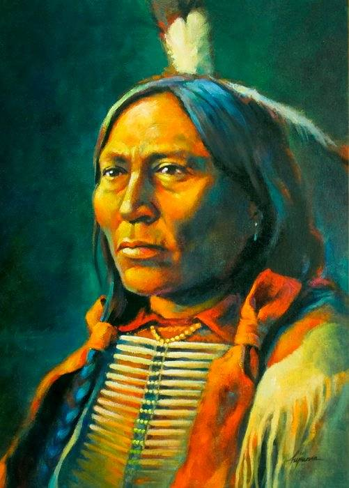 Oil painting Chief Hollow Horn Bear by Kim Fujiwara