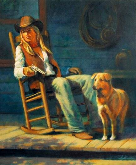 Oil painting A Stranger is Coming by Kim Fujiwara