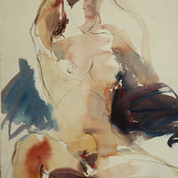 Watercolor nude in action by Madeline Shea